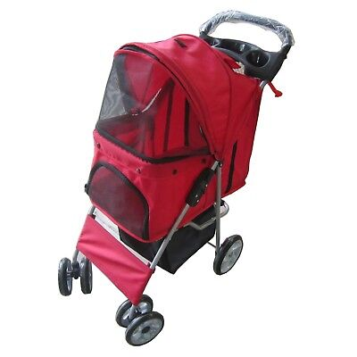 Pet Travel Stroller Pushchair Pram Red For Dogs Puppy Cat With Swivel Wheels