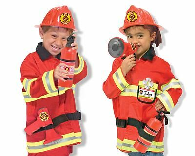 Boys Childrens Fireman Fire Chief Fancy Dress Costume Career Role Play Age 3-6