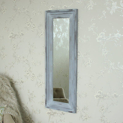 French grey slim wooden wall mirror shabby french chic home bedroom living room