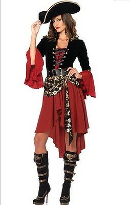 Costume travestimento da pirata + capello adulti vestito carnevale donna cosplay