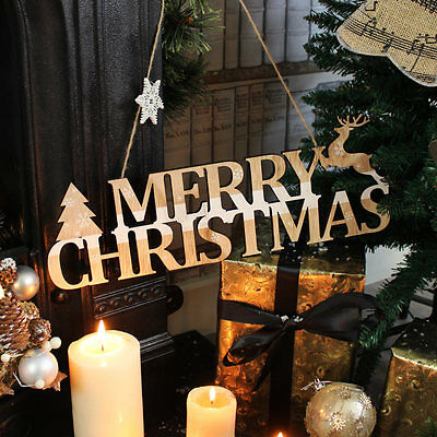 Wooden Merry Christmas sign plaque shabby vintage chic wall decoration home gift