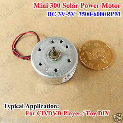 DC 1.5V-6V 3V 5V Mini 300 Solar Motor Small Micro Round Motor for Toy CD Player