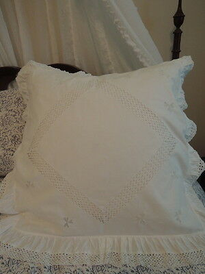 Vintage English White Linen Euro European Pillow Sham Embroidered Lace Ruffles