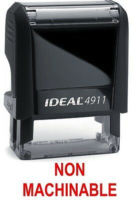 NON MACHINABLE text on IDEAL 4911 Self-inking Rubber Stamp with RED INK