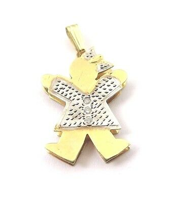 14k Two Tone Gold Double Plated Baby Girl Pendant Charm With Three Diamonds