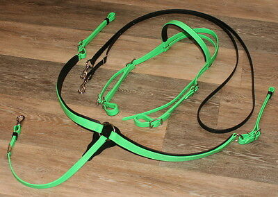 3 PC Set Lime Green Beta Biothane Headstall Bridle Breast Collar Endurance Combo