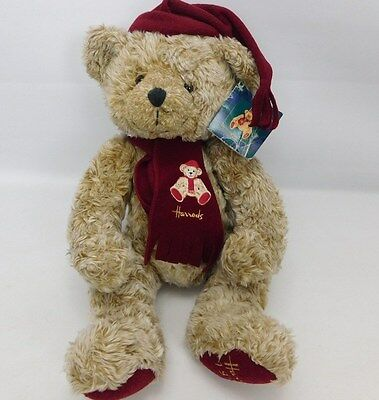 "Harrods 1999 Foot Dated 13"" Annual Christmas Teddy Bear In Hat & Scarf With Tag"