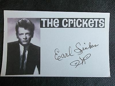 """""""the Crickets"""" Earl Sinks"""" Autographed 3X5 Index Card"""