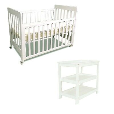NEW bebe care Euro cot & change table crib baby bed  with mattress white