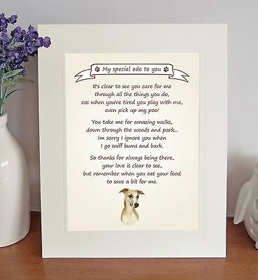 "Whippet 10"" x 8"" Free Standing 'Thank You' Poem Fun Novelty Gift FROM THE DOG"