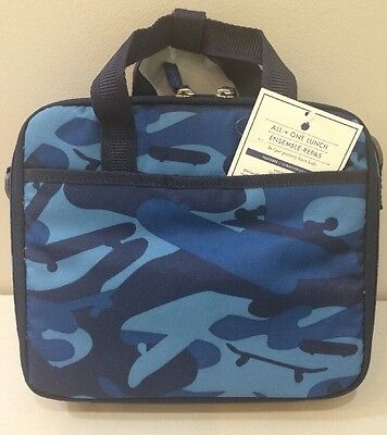 NWT Pottery Barn Kids Blue CAMO MACKENZIE All In One Cold Pack Lunch Bag Box
