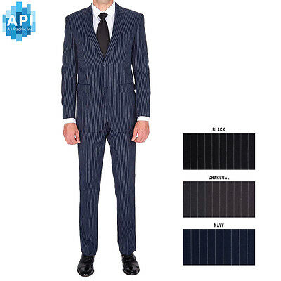 New Men's Formal Slim Fit 2 piece Suit two button pinstripe Jacket pants PIN02