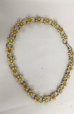 vintage Hippy 60's necklace faux pearl daisy flower rhinestone