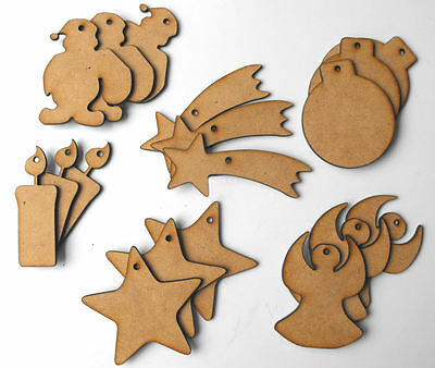 XMAS DECORATIONS CRAFT SHAPES MDF WOOD 70MM x 3MM THICK