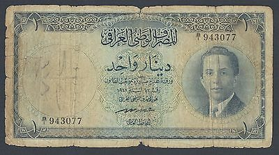 Iraq King One Dinar L.1947(1953) P34 Issued note
