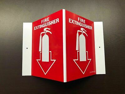 """(10-Signs) 5 X 6 (3-D) Rigid Plastic Angle """"fire Extinguisher Picture"""" Signs New"""