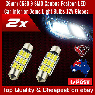 2 x 36mm 5630 9 SMD Canbus Festoon LED Car Interior Dome Light Bulbs 12V Globes