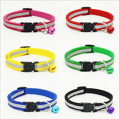 Pet Dog Puppy Cat Soft Glossy Reflective Collar Safety Buckle Bell Adjustable sm