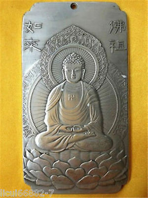 Old Chinese tibet Silver rulai Buddha Lotus base Bullion thanka amulet thangka
