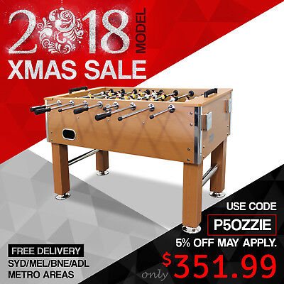 2017 New Model 5FT Pub Size Soccer Foosball Table with 2 Soccer Balls Wooden AU
