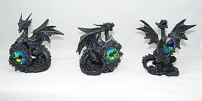 Figurine~ Black Dragon With Coloured Gem (3 Assorted To Choose From)