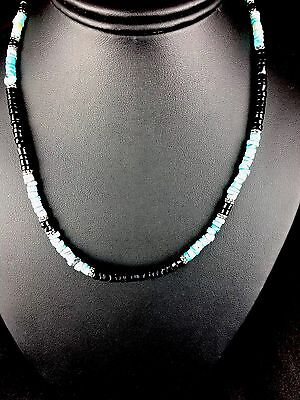 Native American Turquoise And Onyx Sterling Silver Men's Necklace