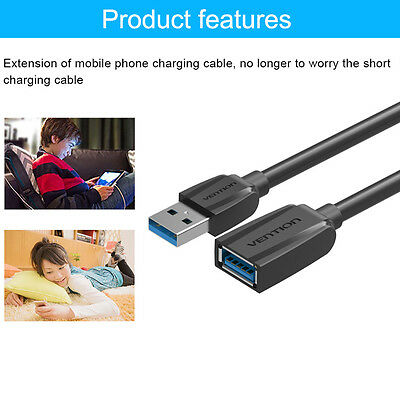 USB 3.0 Extension Cable Male to Female Extension Data Transfer Super Speed WJ