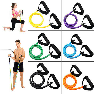 Health Yoga Body Building Training Pull Latex Elastic Rubber Rope Exerciser New