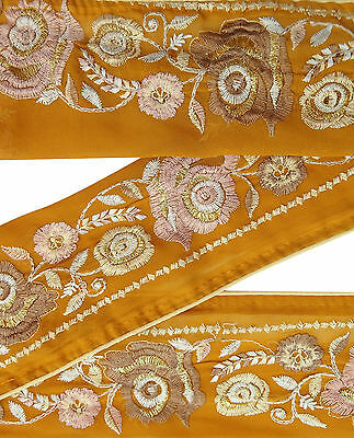 Vintage Indian Sari Border Embroidered Trim Women Yellow Ribbon Antique Lace 1YD