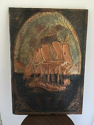 Vintage Ship copper relief art,Hanging copper wall Art