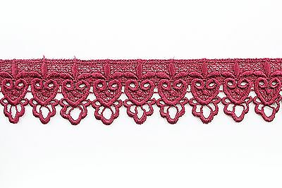 """2"""" Turquoise Black Lilac Pink Green Navy Red White Gray Venice Embroidery Lace"""