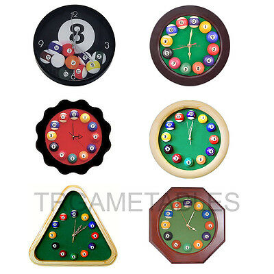 Billiard Clock for Pool Table Room Decoration - Wooden Plastic Round Triangle AU