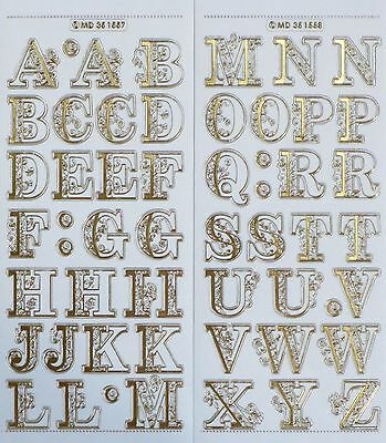 25mm UPPERCASE ALPHABET Embossed Clear PEEL OFF STICKERS Filigree Fancy Letters