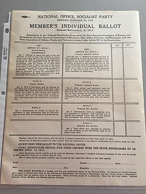 Socialist Party Ballot, 1914, Debbs, National Constitution Amendment, Red Scare