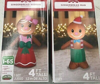 Gemmy Airblown Inflatable Gingerbread Man Christmas Inflatable, 4 Feet Tall