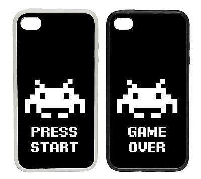 Space Invader White Designs - Rubber and Plastic Phone Cover Case