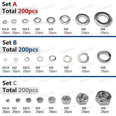 200pcs 304 Stainless Steel Hex Nuts Flat Washers Spring Lock Washers Assortment