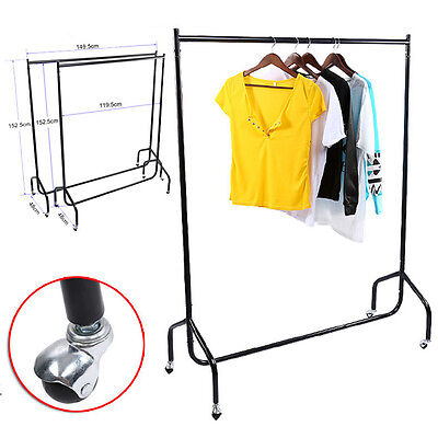 Clothes Garment Rail Dress Display Stand Rack Heavy Duty with Wheels 4 5 FT