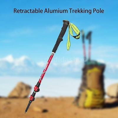 Trekking Poles 3 Sections Retractable Walking Stick Aluminum Alloy Hiking M1W6