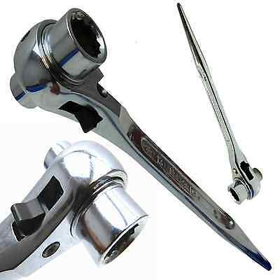 13  x 17mm Chrome Ratchet Podger Spanner Steel Erecting Tool Podger Drift End