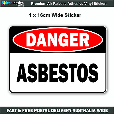 Danger Asbestos Sticker Safety Warning Decal 16cm Wide Industrial sign #D010