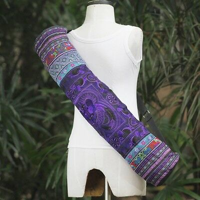 Purple Zip Yoga Mat Carriers Yoga Mat Bag Embroidered Hmong Tribal Hippy Style