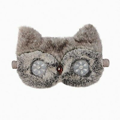 NEW Aroma Home Gorgeous Deluxe Faux Fur Owl Lavender Eye Mask / Sleep Mask
