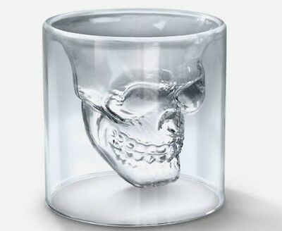 4x 3D Crystal Skull Head 75ml Shot Glass for Alcohol Drinking Party Whiskey