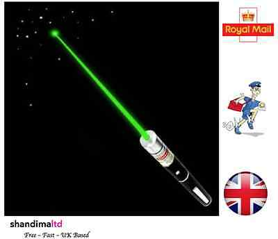 Powerful High Power Green Laser Pointer Pen 1MW Lazer Beam - UK Seller