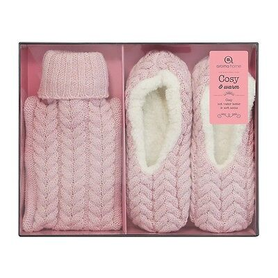 Aroma Home Gorgeous Ladies Pink Knitted Hot Water Bottle & Slippers Gift Set