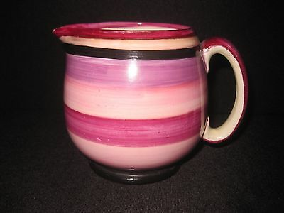 Grays Pottery Art Deco Hand Painted Purple Striped/ Banded Jug. c1930