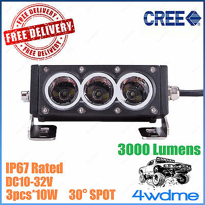 6inch 30W CREE LED Light Bar SPOT Beam SINGLE ROW Offroad Car Truck 4WD ATV