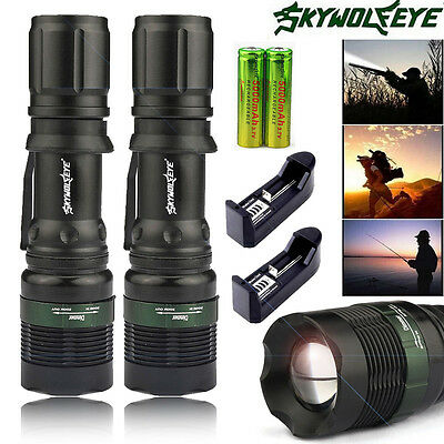 2 Sets 6000 Lumens Zoomable Tactical T6 LED Flashlight Torch + Battery + Charger