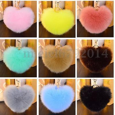 Faux Rabbit Fur Heart Ball Keyring Ring Car Handbag Pendant Key Chain Charm Gift